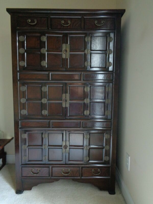 REPRODUCTION TRADITIONAL KOREAN STORAGE 3-SECTION CABINET WOOD BRASS MOUNTS