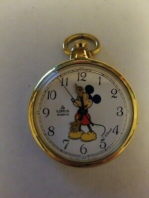 Vintage Lorus Quartz Mickey Mouse Gold Tone Pocket Watch Y131-0010