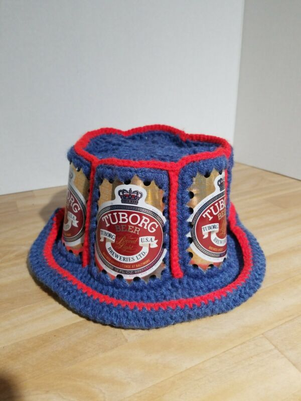 Tuborg Beer Aluminum Can Knit Crocheted Hat Vintage 70