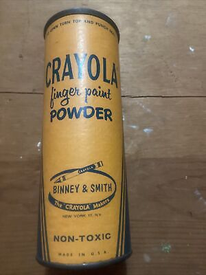 vintage Crayola finger paint powder tin, light green colormade in usa