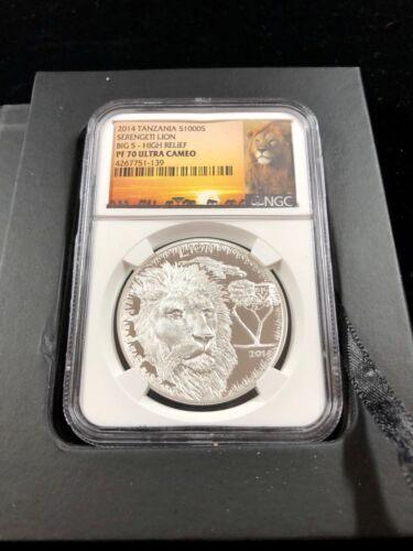 2014 Tanzania Lion Big 5 High Relief PF70 Ultra Cameo 1 oz Silver Shillings