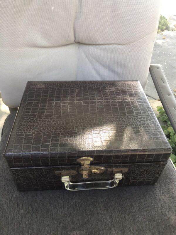 Vintage Faux Crocodile/Alligator Vanity Storage Cosmetic Case Box