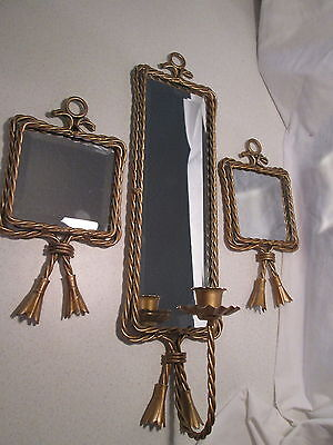 Vintage Homco Twisted Wire Rope Beveled Mirror Sconce & 2 Wall Plaques