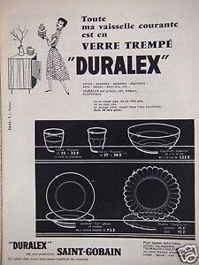 publicit 1956 saint gobain vaisselle duralex en verre tremp advertising ebay. Black Bedroom Furniture Sets. Home Design Ideas