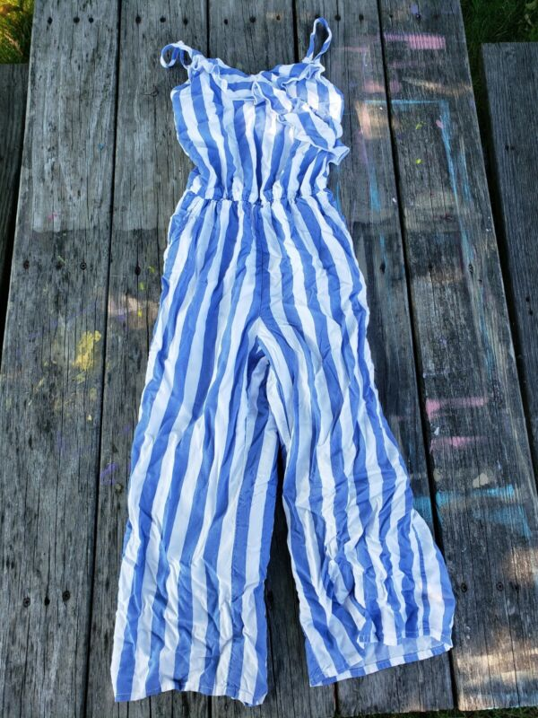 Abercrombie Kids ~ Girls blue White Stripe Summer Jumpsuit Outfit ~ Size 9-10