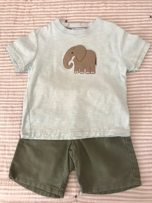 Janie And Jack Boys Elephant Shirt And Green Shorts Lot Of 2. Size 3