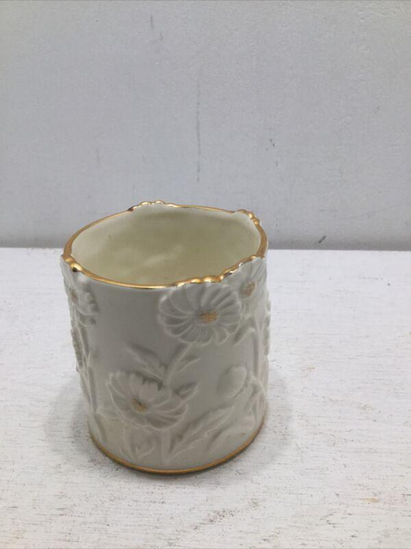 "LENOX Sculpted Fine China Candle Holder DAISY Votive/Tea Light 3"" Ivory 24k Gold"
