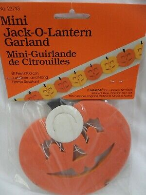 Mini Jack O Lantern Garland Halloween Decoration Vintage 1980's NOS Pumpkin