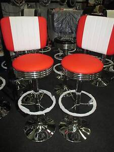 RED AND WHITE RETRO BAR STOOL -  WITH BACKREST Campbellfield Hume Area Preview