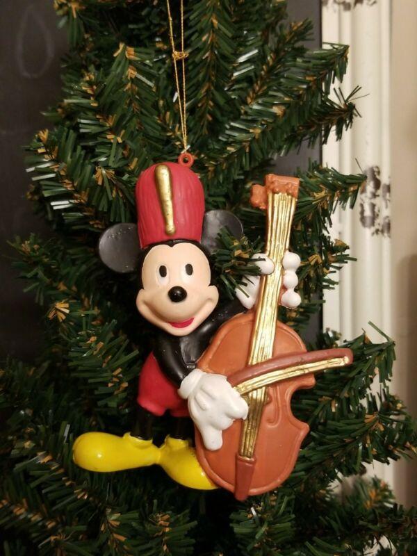 "VINTAGE LOOK WALT DISNEY MICKEY MOUSE PLAYING CELLO CHRISTMAS ORNAMENT RETRO 4"""