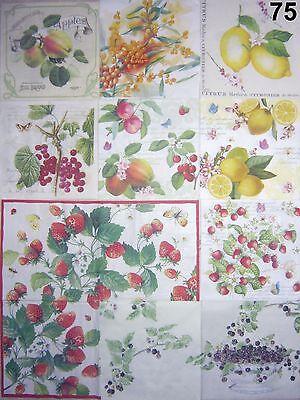 4 Servietten, Brombeere Apfel Pfirsich Erdbeere  Zitrone Sanddorn Johannisbeere