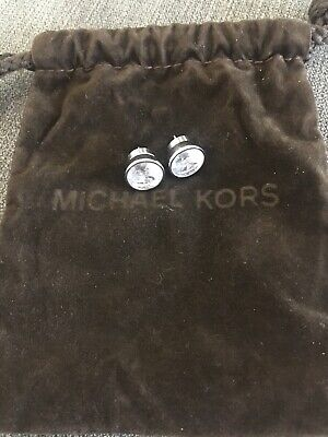 Michael Kors Silver Tone Round Circle Crystal Earrings With Original Pouch Stud