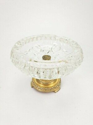 Vintage Italian Cut Crystal Ashtray Vide Poche on Brass Stand