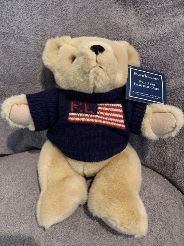 New w/tags Ralph Lauren Polo Sport Plush Bear That Cares Flag Sweater 1996