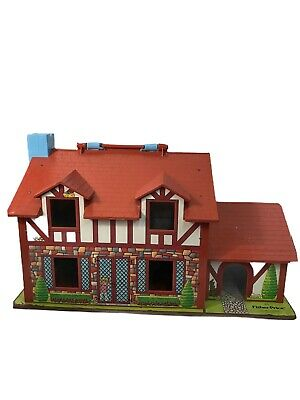 Fisher Price Little People Tudor Family House w/ Extra Pieces952 Vtg 1969