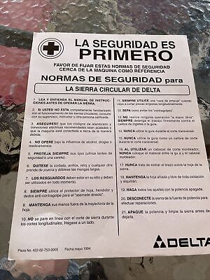 Delta Table saws Safety Card In Spanish 1994