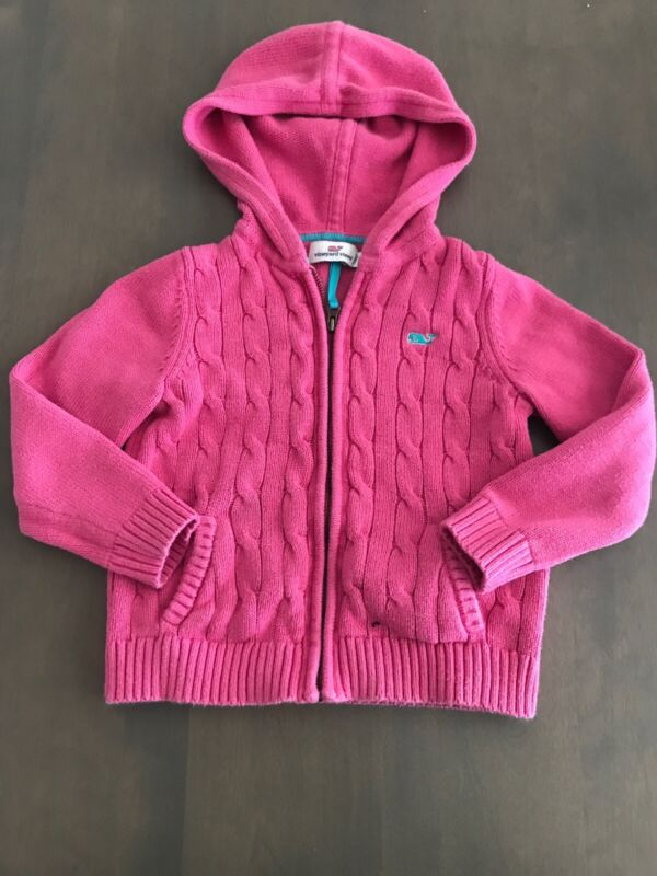 Vineyard Vines Pink Cable Knit Zip Up Sweater Toddler Girls 3T
