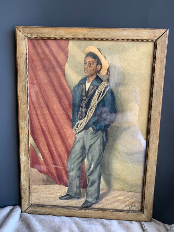 ANTIQUE 19TH CENTURY WATERCOLOR PAINTING BLACK AMERICANA CADET  MILITARY