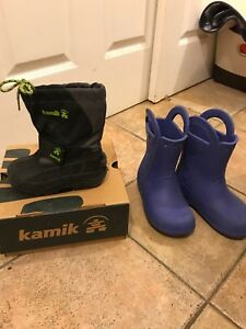 Kamik snow boots and Crocs rain boots
