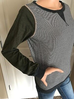 (JOLT CREWNECK STRIPED CHARCOAL ARMY GREEN RAGLAN LONG SLEEVE TOP SHIRT MEDIUM)