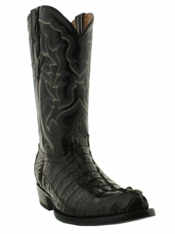 Mens, Black, Genuine, Crocodile, Skin, Western, Leather, Cowboy, Boots, Tail, Cut, J, Toe