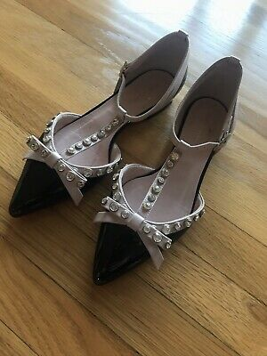 Kate Spade Becca Jeweled T-strap Pointed Patent Leather Flat sz 6.5