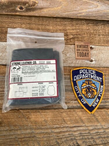 Vintage Strong Leather Female NYPD Police Sergeant Clutch Badge ID Wallet