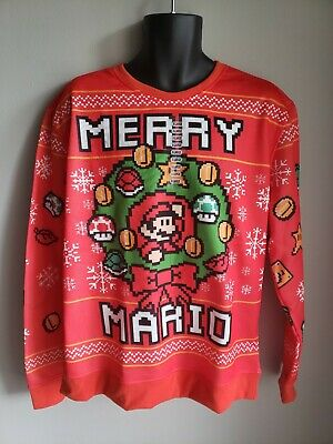 Men's XL Ugly Christmas Holiday Gamer Sweater (Super Mario Bros.)