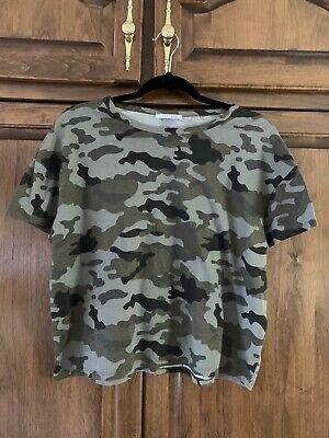 New ZARA Camo Short Sleeve T Tee Shirt Top M