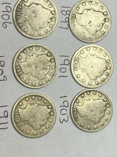 Collection Of 6 Liberty Head V-nickels - $5.00