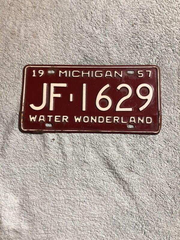 1957 Michigan License Plate JF-1629 Water Wonderland