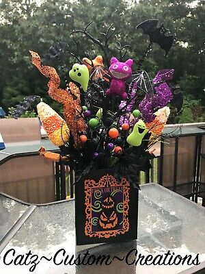 Halloween Wreath Decorations (HALLOWEEN WREATH ARRANGEMENT PUMPKIN CANDY CORN CAT BAT GHOST FLORAL PICK DECOR)