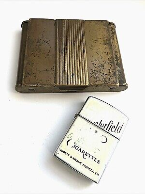 VTG Gold Tone Brass Cigarette Case Holder Art Deco Design & Chesterfield Lighter