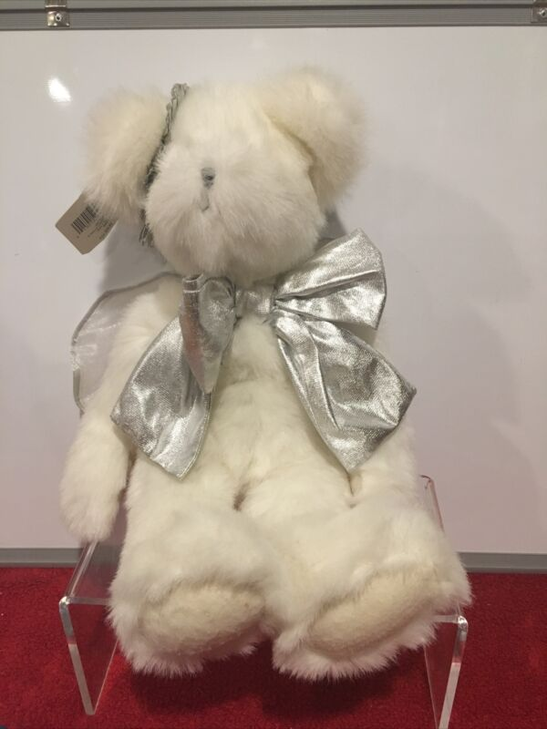 """Hallmark Bear Angel Jointed Plush 18"""" Bear Wings White Silver New with Tags"""