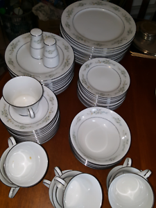 Noritake dinner set for 12 Melissa white/silver/grey Mitcham Whitehorse Area Preview