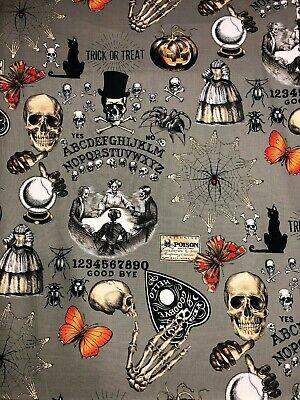 Alexander Henry Seance Haunted House Ouija Skull Skeleton Macabre Fabric - Halloween Seance