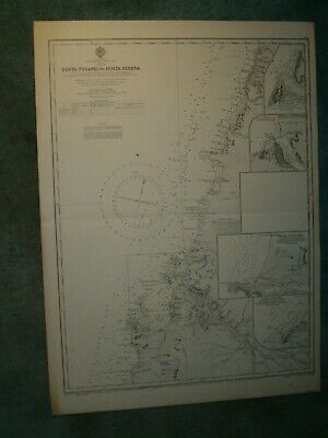 Vintage Admiralty Chart 1286 CHILE - PUNTA TUCAPEL to PUNTA SIRENA 1935 edn