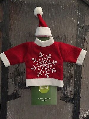 Food Network Christmas Wine Bottle Cover Red Snowflake Sweater and Santa Hat NWT