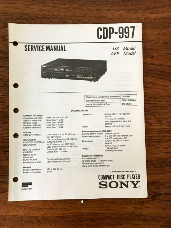 Sony CDP-997  Service Manual *Original*
