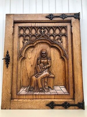 Stunning Antique Gothic Medieval Style Carved door panel in wood circa 1900 2