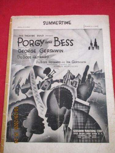 SUMMERTIME Sheet Music PORGY AND BESS 1935 George Gershwin Black Americana