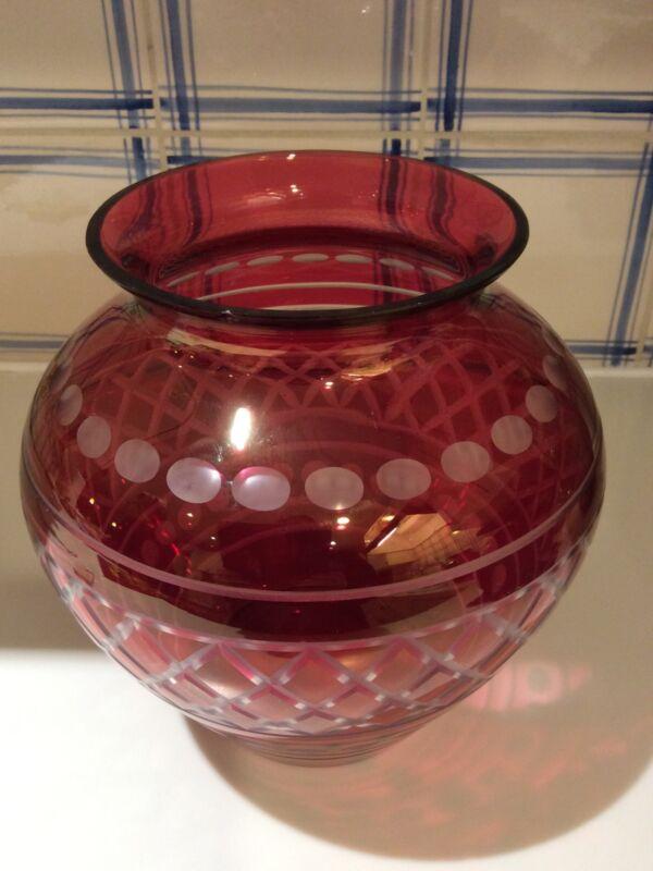 Cranberry Glass Vase Dots