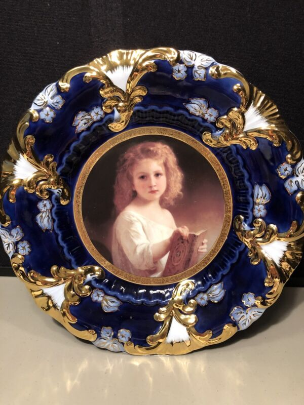 Antique Decorative Royal Vienna Portrait Plate Cobalt Blue & Gold Girl With Book