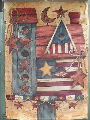 Patriotic Birdhouse Garden Flag 12x17 Two-Sided Evergreen Diane Knott Design NIP ()