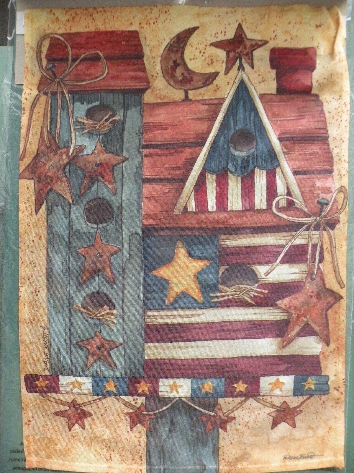 Patriotic Birdhouse Garden Flag 12x17 Evergreen Diane Knott