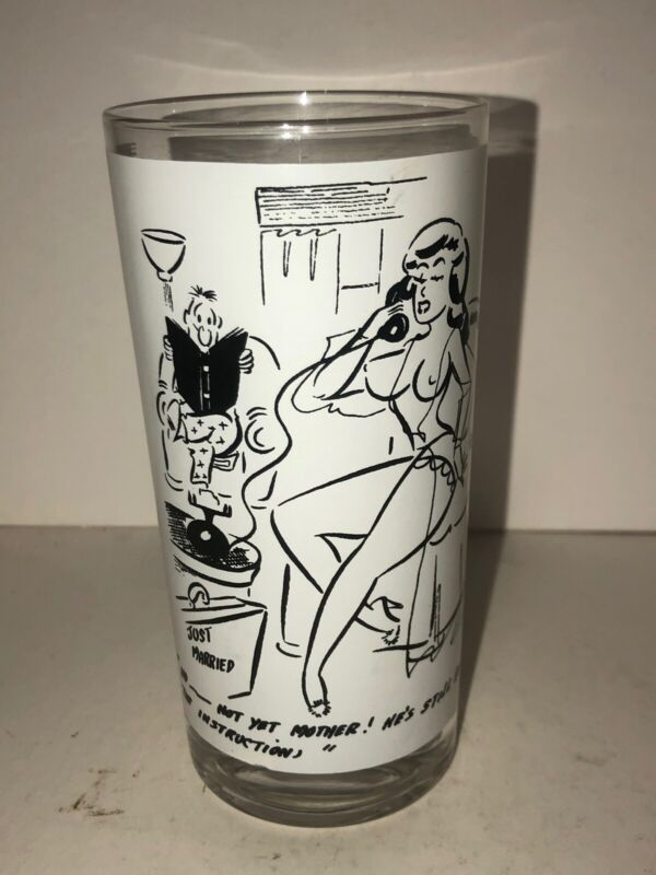 Bill Ward Comic Artist Naughty Erotic Risque Cartoon Glass Cup Just Married 50's