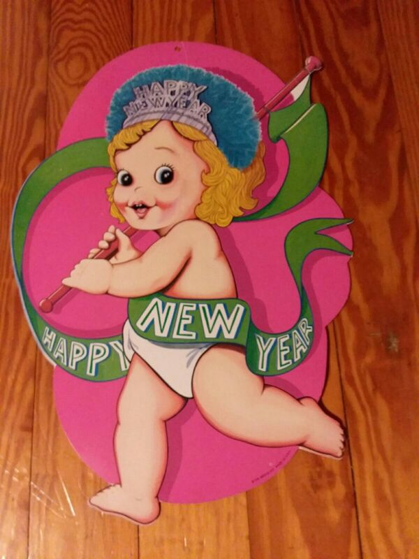 """Vtg Beistle Happy New Year Baby w/ Banner Die Cut Double Sided 17"""" Cardboard"""