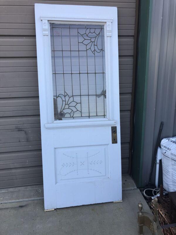 An 605 Antique Eastlake leaded glass entrance door 31.75 x 78.5 X1 3/8