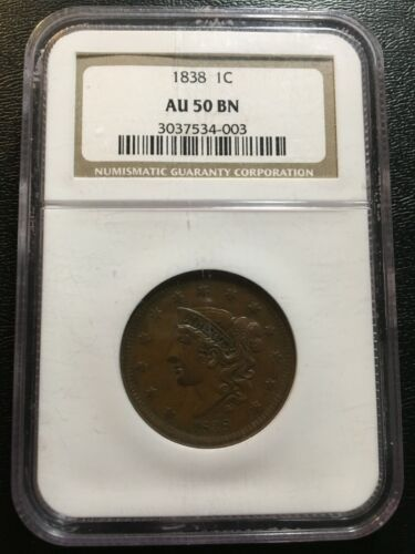 1838 LARGE CENT NGC AU-50 - ABOUT UNCIRCULATED - TYPE COIN - CERTIFIED SLAB - 1C