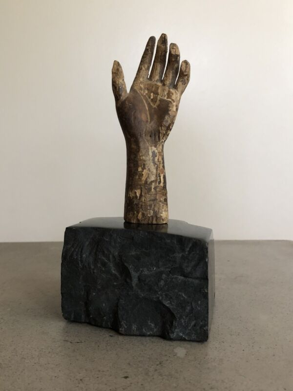 18th/19th C Carved Wood Hand Mounted Black Stone Antique